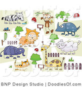 Vector Clipart of a Digital Collage of Zoo Critters Doodled on White by BNP Design Studio