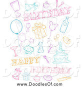 Vector Clipart of a Doodle Birthday Collage by BNP Design Studio