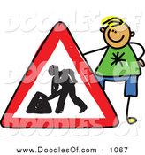 Vector Clipart of a Doodle Blond White Boy Holding a Dig Sign by Prawny