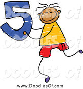 Vector Clipart of a Doodle Boy Holding the Number 5 by Prawny