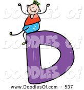 Vector Clipart of a Doodle Boy on a Capital Letter D by Prawny