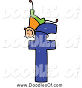 Vector Clipart of a Doodle Boy Playing on a Lowercase Letter F by Prawny
