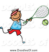 July 26th, 2014: Vector Clipart of a Doodle Boy Playing Tennis by Prawny