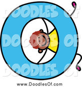 Vector Clipart of a Doodle Boy Rolling with a Capital Letter O by Prawny