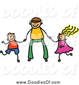 Vector Clipart of a Doodle Father Holding Hands with His Son and Daughter by Prawny