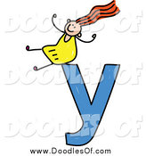 Vector Clipart of a Doodle Girl Cheering on a Lowercase Letter Y by Prawny