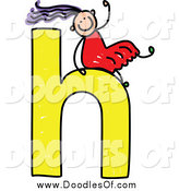 Vector Clipart of a Doodle Girl Sliding on a Lowercase Letter H by Prawny