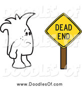 Vector Clipart of a Doodle Guy by a Dead End Sign by Toons4Biz