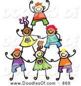 Vector Clipart of a Doodle Human Pyramid of Kids by Prawny