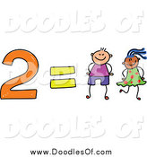 Vector Clipart of a Doodle of 2 Equals Two Kids by Prawny
