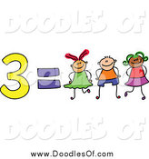 January 13th, 2015: Vector Clipart of a Doodle of 3 Equals Three Kids by Prawny