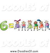 Vector Clipart of a Doodle of 6 Equals Six Kids by Prawny