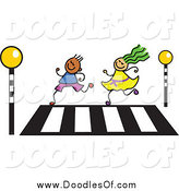Vector Clipart of a Doodle of a Boy and Girl Running over a Crosswalk by Prawny