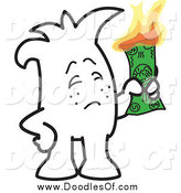 Vector Clipart of a Doodle of a Squiggle Guy Burning Money by Toons4Biz