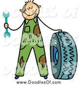 Vector Clipart of a Doodle of a White Dirty Mechanic Boy with a Tire by Prawny