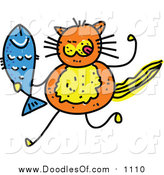 March 18th, 2016: Vector Clipart of a Doodle of an Orange Cat Holding a Fish by Prawny