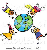 Vector Clipart of a Doodle of Boys and Girls Falling Around a Globe by Prawny