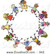 Vector Clipart of a Doodle of Boys and Girls in a Circle, Holding Hands by Prawny