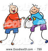 Vector Clipart of a Doodle of Boys Sharing Candy by Prawny