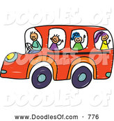 Vector Clipart of a Doodle of Children on an Orange School Bus by Prawny