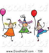 Vector Clipart of a Doodle of Children Wearing Party Hats and Holding Balloons by Prawny