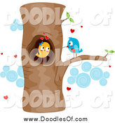 Vector Clipart of a Doodle of Courting Love Birds in a Tree by BNP Design Studio