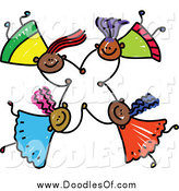December 13th, 2014: Vector Clipart of a Doodle of Four Happy Black Girls Holding Hands While Falling by Prawny