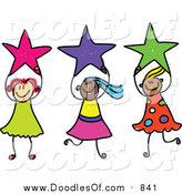 Vector Clipart of a Doodle of Girls Holding Stars by Prawny
