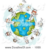 Vector Clipart of a Doodle of Graduate Kids on a Globe by BNP Design Studio