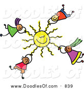 Vector Clipart of a Doodle of Kids Hanging onto a Sun by Prawny
