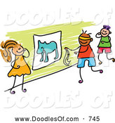 Vector Clipart of a Doodle of Kids Playing Pin the Tail on the Donkey by Prawny