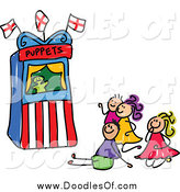 Vector Clipart of a Doodle of Kids Watching a Puppet Show by Prawny