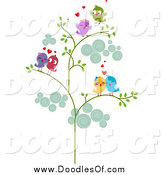 Vector Clipart of a Doodle of Love Bird Couples in a Tree by BNP Design Studio