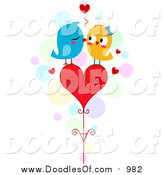 November 2nd, 2015: Vector Clipart of a Doodle of Love Birds Kissing on a Heart by BNP Design Studio