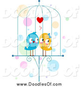 Vector Clipart of a Doodle of Lovebirds in a Cage by BNP Design Studio