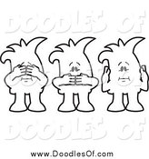 Vector Clipart of a Doodle of See No Speak No and Hear No Evil Squiggle Guys by Toons4Biz