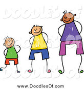 August 25th, 2014: Vector Clipart of a Doodle of Three Boys at Different Heights by Prawny
