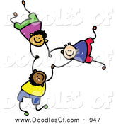 Vector Clipart of a Doodle of Three Boys Falling and Holding Hands by Prawny
