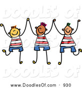 Vector Clipart of a Doodle of Three Boys Holding up Their Hands by Prawny