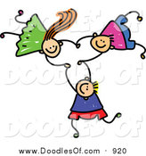 Vector Clipart of a Doodle of Three Kids Holding Hands While Falling by Prawny