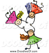 December 29th, 2014: Vector Clipart of a Doodle of Three White Girls Holding Hands While Falling by Prawny