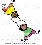 Vector Clipart of a Doodle of Two Boys Falling and Holding Hands by Prawny