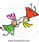 Vector Clipart of a Doodle of Two Girls Holding Hands and Falling by Prawny