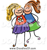 Vector Clipart of a Doodle of Two White Girls Posing Together by Prawny