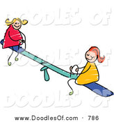 Vector Clipart of a Doodle of White Girls Playing on a Teeter Totter by Prawny