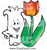 Vector Clipart of a Doodle Squiggle Guy with a Tulip by Toons4Biz