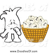 Vector Clipart of a Doodle Squiggle Guy with Broken Eggs All in One Basket by Toons4Biz