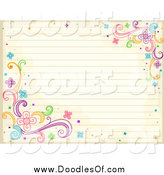 Vector Clipart of a Doodled Antique Ruled Paper with Swirl and Flower Doodles by BNP Design Studio
