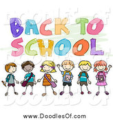 May 25th, 2014: Vector Clipart of a Doodled Back to School Greeting with Kids by BNP Design Studio