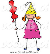 Vector Clipart of a Doodled Birthday Girl with a Balloon by Prawny